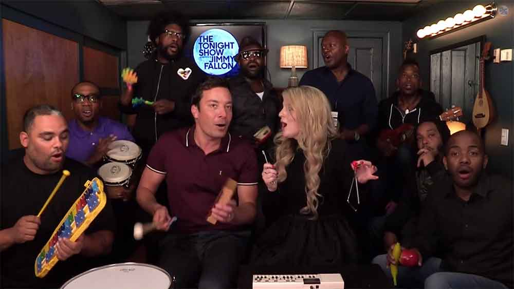 """All About That Bass"" Performed with Classroom Instruments by Jimmy Fallon, Meghan Trainor, and The Roots"