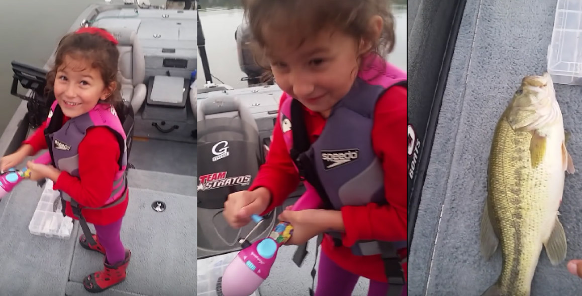 Dad Cheers On Daughter As She Catches A Huge Bass
