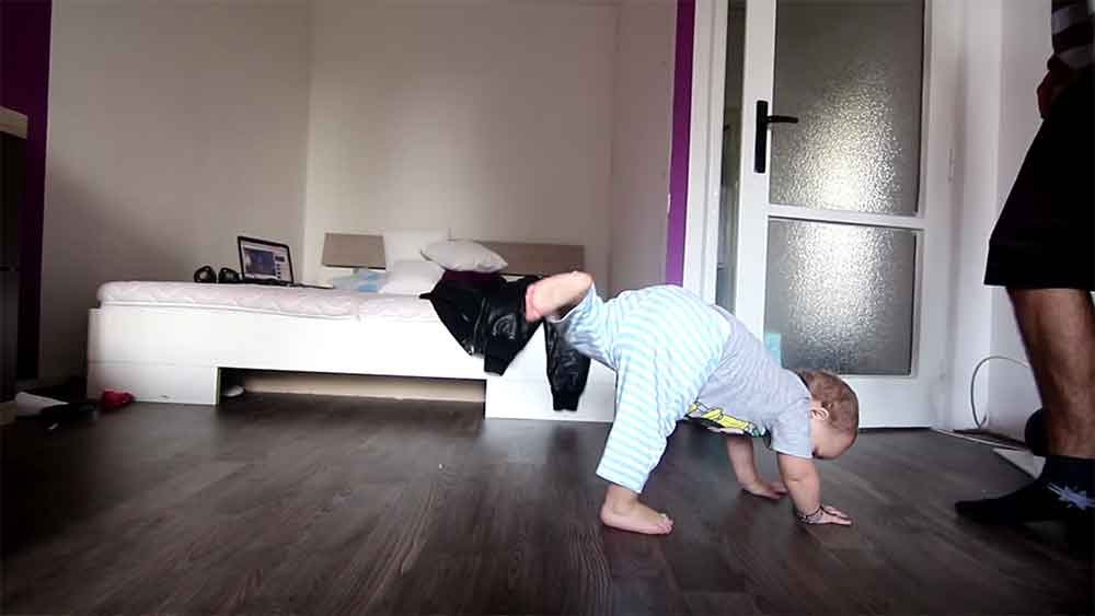 Dad Teaching Baby to Break Dance