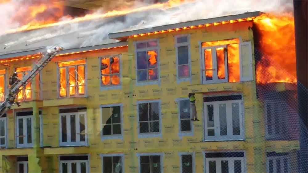Dramatic Last Second Fire Rescue of Construction Worker from 5th Floor Balcony