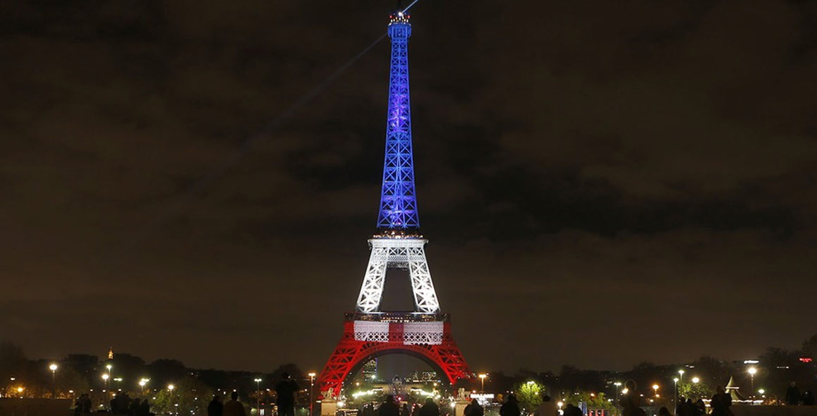 Eiffel Tower Lights Up For France