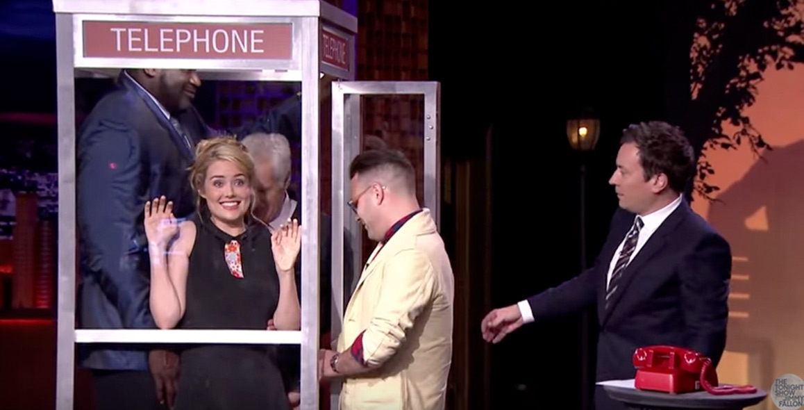 Phone Booth Gets Crowded with Hugh Jackman and Shaquille O'Neal