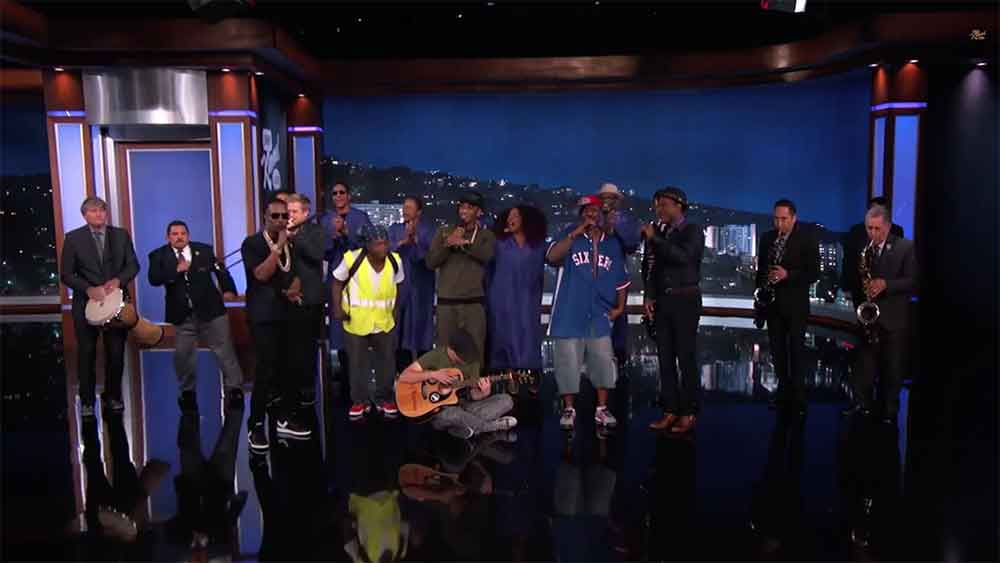 Jam Session Guys Reunite on Kimmel with Trey Songz, Juicy J, and Aloe Blacc