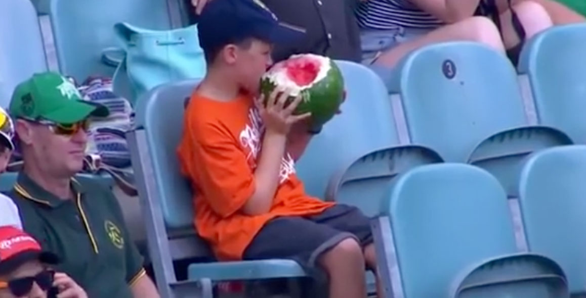 Young Boy Eats Entire Watermelon At A Cricket Match