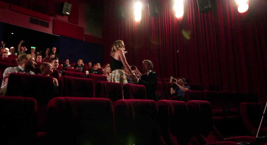 Best Wedding Proposal EVER!  Aussie Proposes To Girlfriend In Packed Cinema