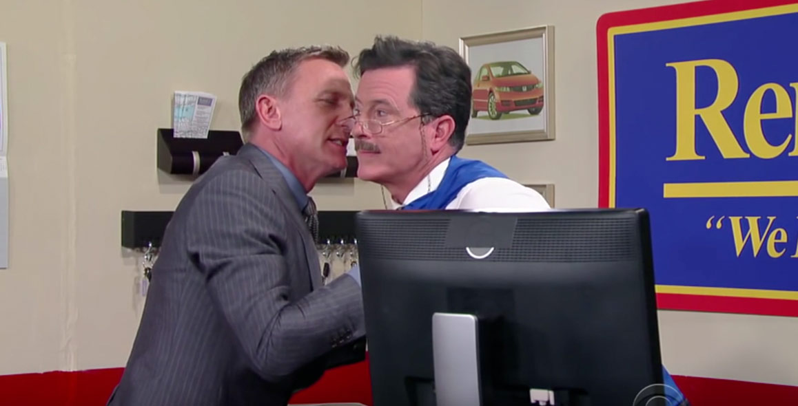 James Bond Rents A Car From Stephen Colbert