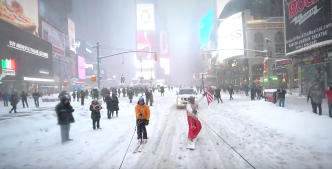 Guy Goes 'Snowboarding With The NYPD' In Times Square